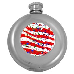 Confetti Star Parade Usa Lines Round Hip Flask (5 Oz)