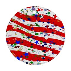 Confetti Star Parade Usa Lines Round Ornament (Two Sides)