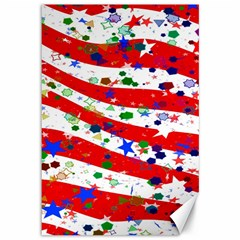 Confetti Star Parade Usa Lines Canvas 12  x 18