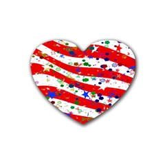 Confetti Star Parade Usa Lines Rubber Coaster (Heart)