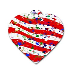 Confetti Star Parade Usa Lines Dog Tag Heart (One Side)