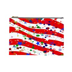 Confetti Star Parade Usa Lines Cosmetic Bag (Large)