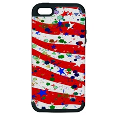 Confetti Star Parade Usa Lines Apple Iphone 5 Hardshell Case (pc+silicone)