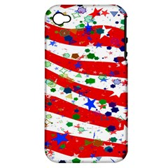Confetti Star Parade Usa Lines Apple iPhone 4/4S Hardshell Case (PC+Silicone)