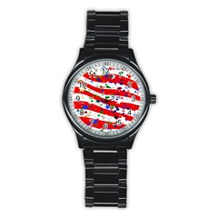 Confetti Star Parade Usa Lines Stainless Steel Round Watch