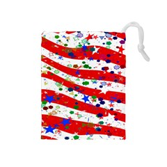 Confetti Star Parade Usa Lines Drawstring Pouches (Medium)