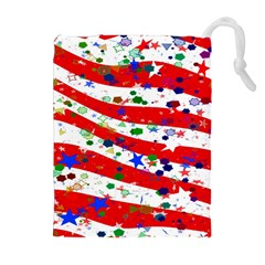 Confetti Star Parade Usa Lines Drawstring Pouches (Extra Large)