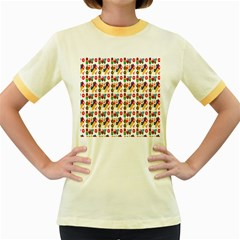 Construction Pattern Background Women s Fitted Ringer T-Shirts