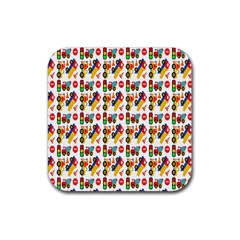 Construction Pattern Background Rubber Coaster (Square)