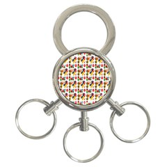 Construction Pattern Background 3-Ring Key Chains