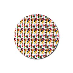 Construction Pattern Background Rubber Round Coaster (4 Pack)