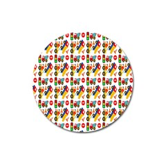 Construction Pattern Background Magnet 3  (round)