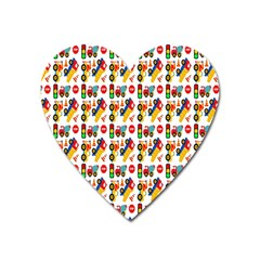 Construction Pattern Background Heart Magnet
