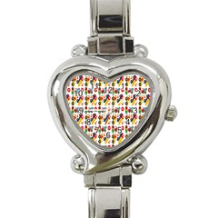 Construction Pattern Background Heart Italian Charm Watch