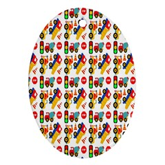 Construction Pattern Background Oval Ornament (Two Sides)
