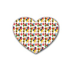 Construction Pattern Background Heart Coaster (4 pack)