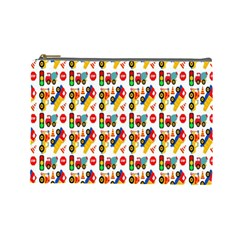 Construction Pattern Background Cosmetic Bag (Large)