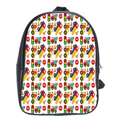Construction Pattern Background School Bags(large)