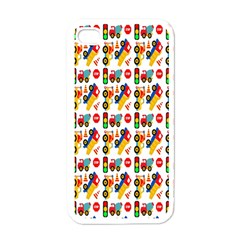 Construction Pattern Background Apple iPhone 4 Case (White)