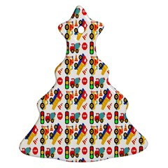 Construction Pattern Background Christmas Tree Ornament (Two Sides)