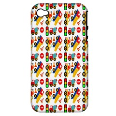 Construction Pattern Background Apple Iphone 4/4s Hardshell Case (pc+silicone)