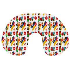 Construction Pattern Background Travel Neck Pillows