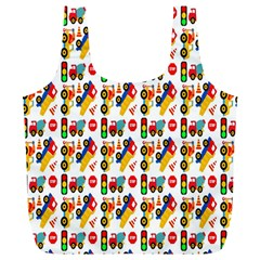 Construction Pattern Background Full Print Recycle Bags (L)