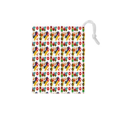 Construction Pattern Background Drawstring Pouches (small)