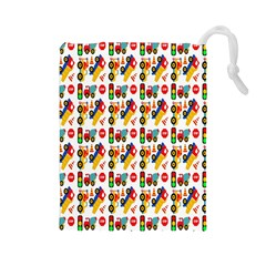 Construction Pattern Background Drawstring Pouches (large)