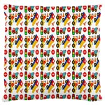 Construction Pattern Background Large Flano Cushion Case (Two Sides) Back