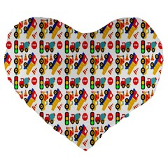 Construction Pattern Background Large 19  Premium Flano Heart Shape Cushions