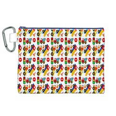 Construction Pattern Background Canvas Cosmetic Bag (XL)