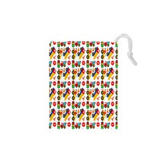 Construction Pattern Background Drawstring Pouches (XS)