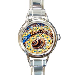Complex Fractal Chaos Grid Clock Round Italian Charm Watch