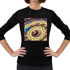 Complex Fractal Chaos Grid Clock Women s Long Sleeve Dark T-Shirts