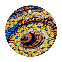 Complex Fractal Chaos Grid Clock Round Ornament (two Sides)