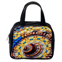 Complex Fractal Chaos Grid Clock Classic Handbags (One Side)