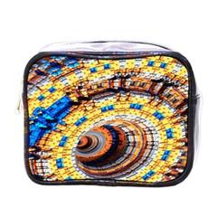 Complex Fractal Chaos Grid Clock Mini Toiletries Bags