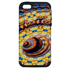 Complex Fractal Chaos Grid Clock Apple iPhone 5 Hardshell Case (PC+Silicone)