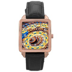 Complex Fractal Chaos Grid Clock Rose Gold Leather Watch