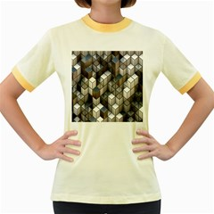 Cube Design Background Modern Women s Fitted Ringer T-Shirts