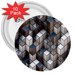 Cube Design Background Modern 3  Buttons (10 Pack)