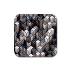Cube Design Background Modern Rubber Square Coaster (4 pack)