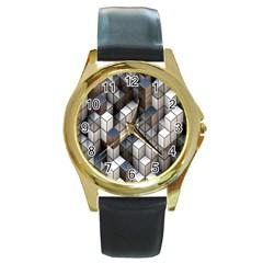 Cube Design Background Modern Round Gold Metal Watch