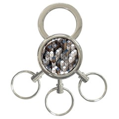 Cube Design Background Modern 3 Ring Key Chains