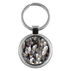 Cube Design Background Modern Key Chains (round)