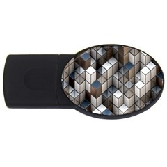 Cube Design Background Modern USB Flash Drive Oval (2 GB)