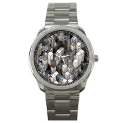 Cube Design Background Modern Sport Metal Watch