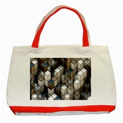 Cube Design Background Modern Classic Tote Bag (red)