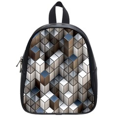 Cube Design Background Modern School Bags (Small)